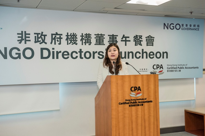Ms Mabel Chan, President, Hong Kong Institute of CPAs emphasized the Institute's devotion in supporting local NGOs.