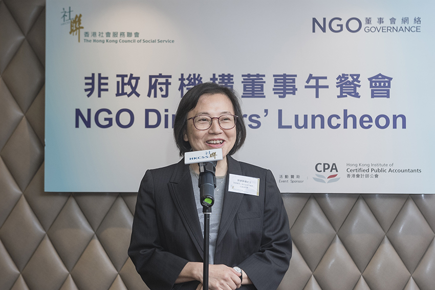 Mrs Helen Kwok, Assistant Director (Youth and Corrections), Social Welfare Department agreed that NGOs help fill the social service gap. She expected to exchange with agency representatives on the strategies and initiatives relating to youth services.