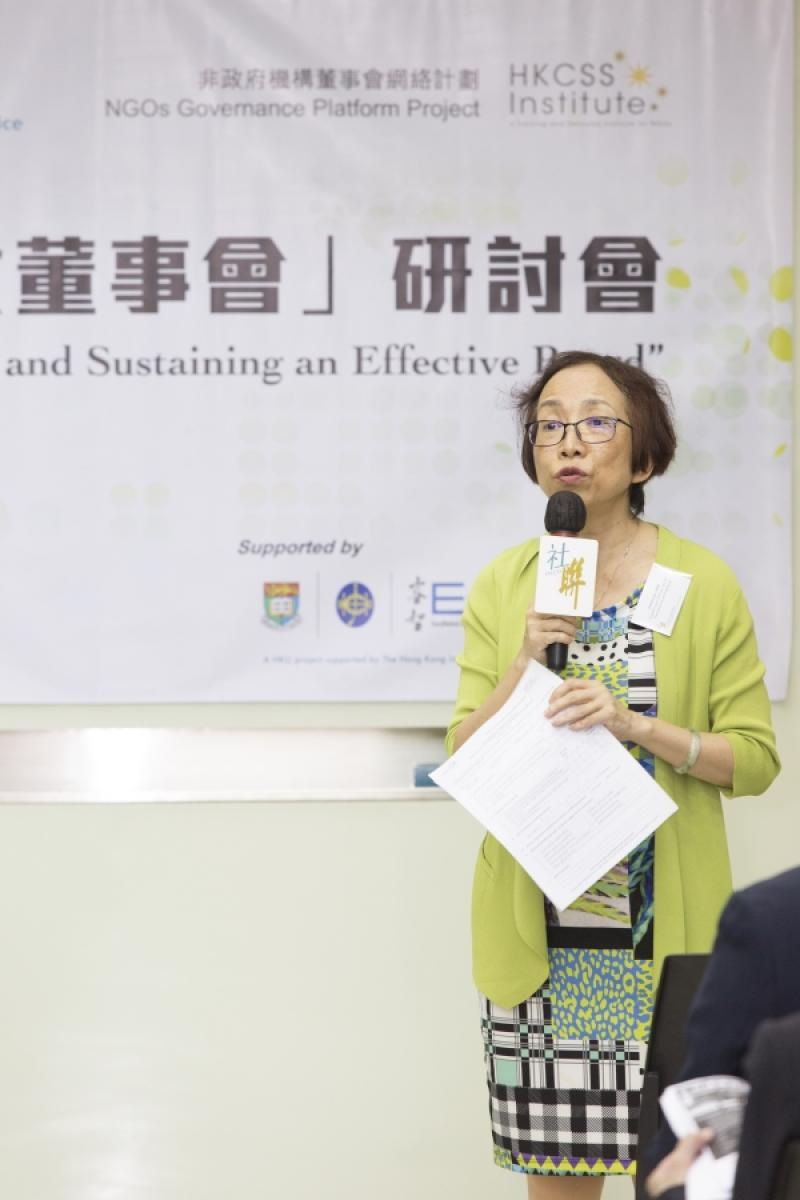 Prof Cecilia Chan, Deputy Project Director, ExCEL3, The University of Hong Kong gave an opening remark at the seminar by sharing her own experience in NGO governance.