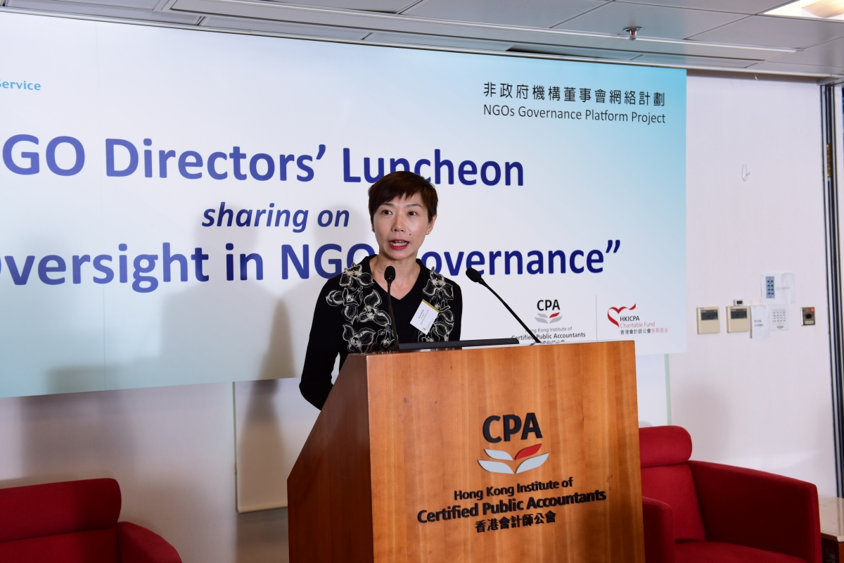 The luncheon was sponsored by the HKICPA Charitable Fund. Ms Ivy Cheung, President of The Hong Kong Institute of CPAs, noted that the Institute commits to support local NGOs in improving their governance practice.