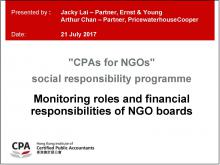 Monitoring roles and financial responsibilities of NGO boards