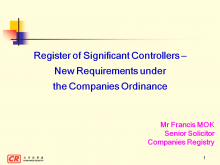 Register of Significant Controllers - New Requirements under the Companies Ordinance