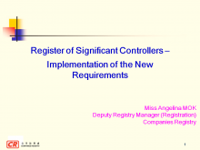 Register of Significant Controllers - Implementation of the New Requirements