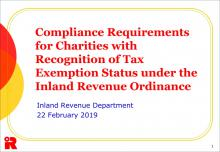 Compliance Requirements for Charities with Recognition of Tax Exemption Status under the Inland Revenue Ordinance